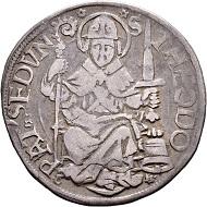 Lot 5415: Bistum Sitten. Bischof Johann Jordan (1548-1565). Dicken 1549. Sehr schön und von grösster Seltenheit. CHF 10.000.