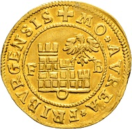 Lot 5145: Freiburg i. Üe. Gold gulden 1599. Nearly extremely fine and extremely rare. CHF 25,000.