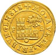 Lot 5145: Freiburg i. Üe. Goldgulden 1599. Fast vorzüglich und von grösster Seltenheit. CHF 25.000.