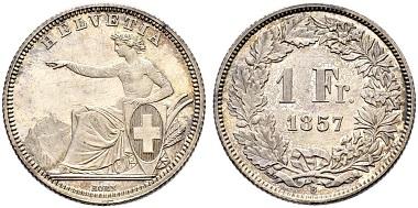 Lot 5581: Schweiz. Eidgenossenschaft. 1 Franken 1857. Kabinettstück. Erstabschlag/FDC. Nur 526 Exemplare geprägt. CHF 25.000.