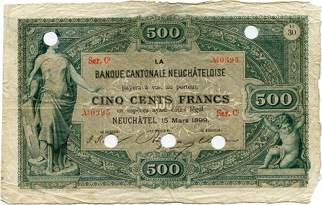 Lot 7576: Switzerland, Banque Cantonale Neuchâteloise. 500 Francs from 15 March 1899. Fine. CHF 9,000.