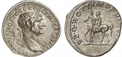TRAIANUS. Denar. Ex Helios 5 n. 248. 3,43 g.