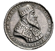 King David. Silver medal 1535/1538. Die by Wolf Milicz. Bust of King David r. / The Outpouring of the Holy Spirit. Very fine original strike.