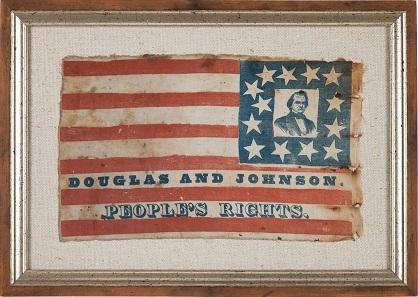 Stephen A. Douglas: Wonderful Portrait Flag. 13.5