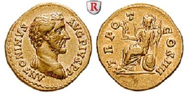 Rom. Antoninus Pius 138-161. Aureus. vorzüglich. 9.250 Euro.