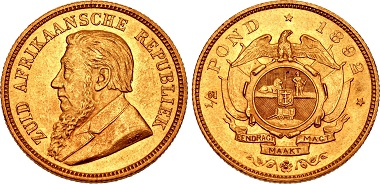 South African Republic. Half Pond, Berlin, 1982. Bust of Oom Paul with the signature O.S. Rv. Eagle above coat of arms. From the auction CNG 100 (2015), 970.