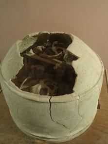 Urne mit Skelettresten aus Haft Tepe. Foto: KW.
