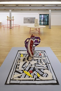 Betty Woodman's Aztec Vase and Carpet 1 2012 by Betty Woodman currently on display in Ancient Greece at Tate Liverpool as part of the ninth edition of Liverpool Biennial. © Tate Liverpool, Roger Sinek.