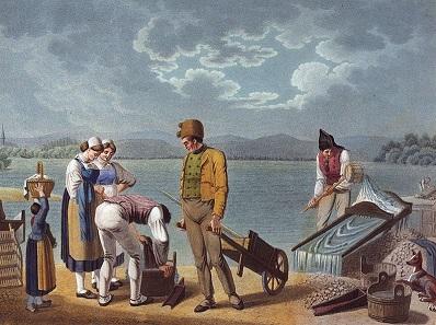 Goldwaschen bei Karlsruhe, Buchillustration um 1825.
