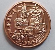 Schloßserie: Schloss Eberstein Gernsbach / Gold .928 / 3,8 g / 20 mm / Design: Victor Huster / Auflage: 25.