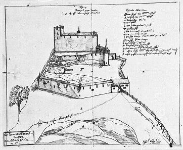 Schloss Eberstein bei Gernsbach, Ansicht von West, Zeichnung aus dem 17. Jahrhundert.