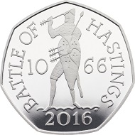 The 950th Anniversary of The Battle of Hastings 2016 United Kingdom 50p Silver Proof Coin: Great Britain / 50p / .925 Ag / 8.00g / 27.30mm / Design: Jody Clark (obverse), John Bergdahl (reverse) / Mintage: 6,000.
