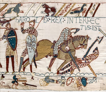 The death of King Harold at the Battle of Hastings as depicted on the Bayeux Tapestry.