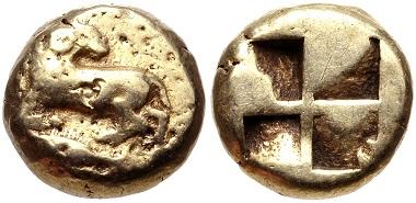 Lot 146: Kyzikos. EL Hekte, ca. 550-500 BC. Lanz 155, lot 237. VF, Estimate: $200.