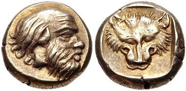 Lot 207: Mytilene. EL Hekte, ca. 454-428/7 BC. HGC 6, 973. Good VF. Estimate: $500.
