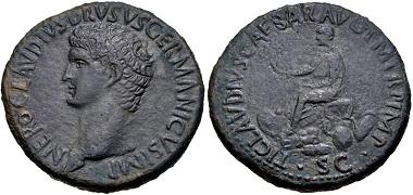 Lot 542: Nero Claudius Drusus. Sestertius, AD 41-42 (struck under Claudius), Rome mint. RIC I 93 (Claudius). VF. From the estate of Thomas Bentley Cederlind. Ex Cederlind BBS 122 (28 June 2001), lot 161. Estimate: $500.