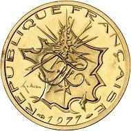 Nr.: 1283. FRANKREICH. 5. Republik. 10 Francs Typ Mathieu 1977, Piéfort. Nur 43 Exemplare geprägt. Vorzüglich aus Polierter Platte. Taxe: 1.300 Euro.