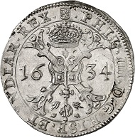 Nr. 1336: LUXEMBURG. Philippe IV., 1621-1665. Patagon (48 Sous) 1634. Prachtexemplar! Vorzüglich. Taxe: 1.000 Euro.