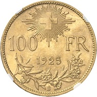Lot 1471: SWITZERLAND / Confederacy. 100 francs 1925. Graded NGC MS64+. Almost FDC. Estimate: 18,000 euros.