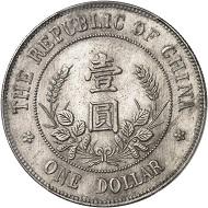 Nr. 1554: CHINA / Volksrepublik seit 1911. Dollar o. J. (1912). PCGS Genuine Cleaning - UNC Details. Vorzüglich. Taxe: 3.000 Euro.