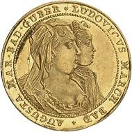 Nr. 1816: BADEN. Ludwig Georg Simpert, 1707-1761, unter Vormundschaft seiner Mutter Franziska Sibylla Augusta von Sachsen-Lauenburg. Dukat 1714 auf den Frieden von Baden. Vorzüglich bis Stempelglanz. Taxe: 1.500 Euro.
