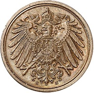 Lot 3018: GERMAN EMPIRE. 1 pfennig 1905 E with cross under cipher of value. Extremely rare. Almost FDC. Estimate: 12,500 euros.