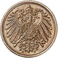 Nr. 3018: DEUTSCHES REICH. 1 Pfennig 1905 E mit Kreuz unter der Wertzahl. Äußerst selten. Fast Stempelglanz. Taxe: 12.500 Euro.
