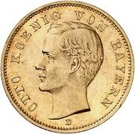 Nr. 3559: DEUTSCHES REICH. Bayern. 20 Mark 1913. J. 200. Sehr seltener Jahrgang. Vorzüglich bis Stempelglanz. Taxe: 15.000 Euro.