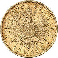 Lot 3559: GERMAN EMPIRE. Bavaria. 20 marks 1913. J. 200. Very rare date. Extremely fine to FDC. Estimate: 15,000 euros.