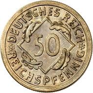 Nr. 3739: WEIMARER REPUBLIK. 50 Reichspfennig 1925 F. Äußerst selten. Polierte Platte. Taxe: 25.000 Euro.