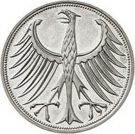 Nr. 4134: BRD. Probe zu 5 DM 1969 F, mit Randschrift von 5 DM 1970 F, Beethoven: ALLE MENSCHEN WERDEN BRÜDER. Einziges bekanntes Exemplar. Polierte Platte. Taxe: 15.000 Euro.