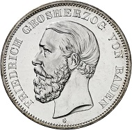 Lot 20: BADEN. 5 marks 1888. J. 27. One of the rarest imperial silver coins in this grade. Proof. Estimate: 20,000 euros.