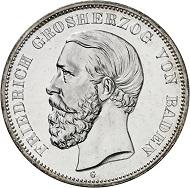 Nr. 20: BADEN. 5 Mark 1888. J. 27. Eine der seltensten Reichssilbermünzen in dieser Erhaltung. Polierte Platte. Taxe: 20.000 Euro.