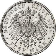Nr. 105: BAYERN. 5 Mark 1896. J. 46. Das beste dem Auktionator bekannte Exemplar. Erstabschlag. Fast Stempelglanz / Stempelglanz. Taxe: 10.000 Euro.