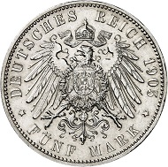 Lot 135: BREMEN. 5 marks 1905, without beaded circle. J. 60. Only few specimens known. Almost FDC. Estimate: 20,000 euros.