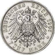 Nr. 135: BREMEN. 5 Mark 1905, ohne Perlkreis. J. 60. Nur wenige Exemplare bekannt. Fast Stempelglanz. Taxe: 20.000 Euro.