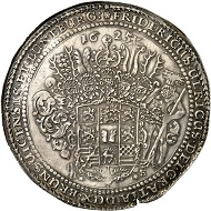 No. 1072: BRUNSWICK-WOLFENBÜTTEL. Frederick Ulrich, 1613-1634. Löser of 1 1/2 reichstalers 1625, Goslar or Zellerfeld. Yield from the St Jacob's mine in Lauthenthal. Very rare. Almost extremely fine. Estimate: 3,000 GBP.