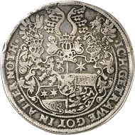 No. 1325: HESSE-MARBURG. Louis IV, 1567-1604. Thick double reichsthaler from 1588, Gladenbach. Yield of the Gladenbach mines. 3rd known specimen. Very fine. Estimate: 7,500 GBP.