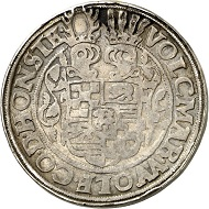 No. 1394: HOHNSTEIN. Volkmar Wolfgang, 1562-1582. Thick double reichsthaler, 1576, Ellrich. Yield from the St Andrew's mine. Extremely rare. Mounting removed, very fine. Estimate: 1,500 GBP.