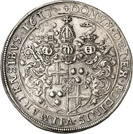 No. 1583: TRIER. Lothar von Metternich, 1599-1623. Reichsthaler 1617, Coblence. Yield from the Vilmar mines. Extremely rare. Almost extremely fine. Estimate: 12,500 GBP.
