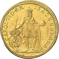 Nr. 1608. RDR. Karl VI., 1711-1740. 2 Dukaten 1725, Prag. Ausbeute der Gruben in Eule (Jélové). Äußerst selten. Vorzüglich. Taxe: 10.000 GBP