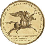 France. Medal 1803 the same as before in gold from the same dies. This piece from the estate of the Bonaparte family is estimated at 5 GBP,000. From London Coin Galleries auction in association with Künker on 1 November 2016, No. 1277.
