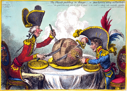 The world being carved up into spheres of influence between Pitt and Napoleon - Unfortunately Hanover was located in Europe and thus within the French emperor's sphere of influence. Caricature by James Gillray from 1805.