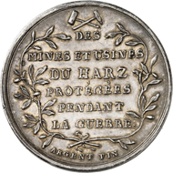 Medal 1804. This medal, minted from the yield of the mines in the Harz region, bears the inscription (in translation): To Napoleon, the emperor of the French, the miners of the Harz production sites, whom he protected during the war. From the London Coin Galleries auction in association with Künker on 1 November 2016, No. 1279. Estimate: GBP 200.