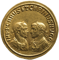Quintuple Aureus of Carus and Carinus. From the find of Petrijanec (Croatia), minted 283 in (Croatia). Inv-No. RÖ 32467, dia. 98mm. © KHM-Museumsverband.