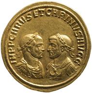 Fünffacher Aureus des Carus und Carinus aus dem Fund von Petrijanec (Kroatien) geprägt 283 in Sisicia (Kroatien) (27,48 g). Inv.-Nr. RÖ 32467, Dm. 98 mm. © KHM-Museumsverband.