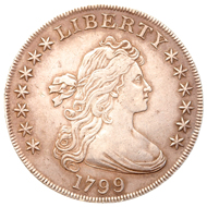 One of the display items: USA silver 'liberty' dollar minted in Philadelphia in 1799.