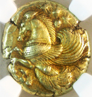 Stater issued by Mysia, Lampsakos, c. 500-450 BC. Photo: Jeff Kahn, courtesy of Solon Numismatics.