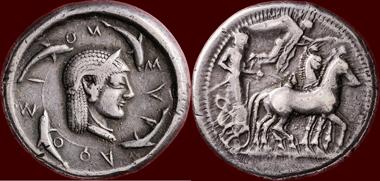 SICILIA, SYRACUSE AR tetradrachm 485-480 v. Chr.