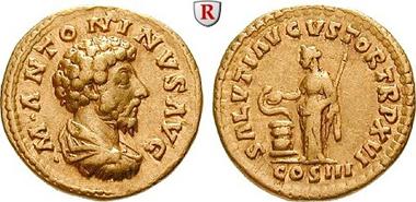 Marcus Aurelius, 161-180. Aureus, 161-162, Rom.